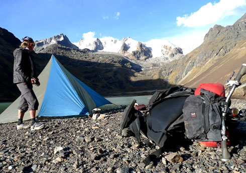 Image of bike camping with Revelate Designs bags