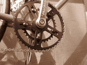 Photo of a double crankset ie,one with two chainrings