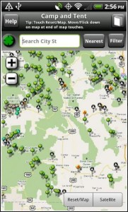 Screen shot for camping app