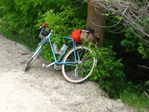 photo of camping bike along road