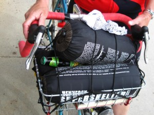 photo of front basket loaded for camping