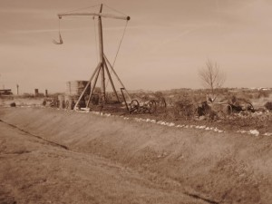 small park with old farm implements