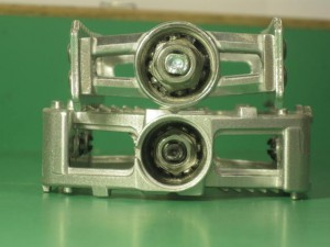 end view of pedals with dustcaps removed