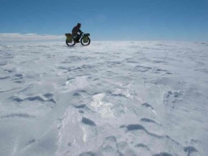 riding a surly moonlander in antarctica