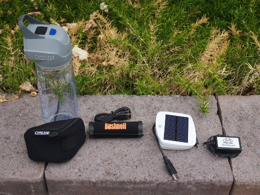 From the left: Camelbak All Clear, Bushnell SolarWrap Mini, Solio Bolt, Bright Bike Revolution