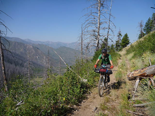 A suspension fork takes the edge off the rugged singletrack on the Idaho Hot Springs Mountain Bike Route.