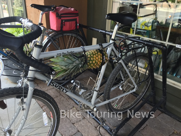 pineapple strapped to bike.